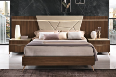 Saltarelli Emozioni Walnut Bed With Upholstered Headboard and Nightstand Back Panels, Sides and Footboard in Wood