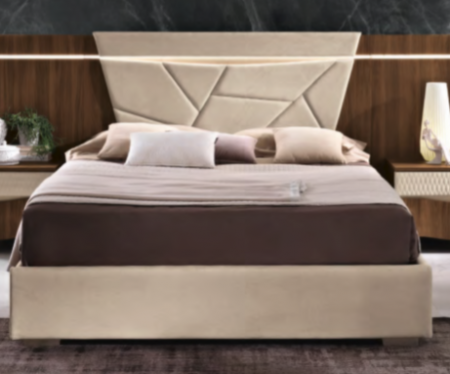 Saltarelli Emozioni Walnut Bed With Upholstered Headboard and Upholstered Sides