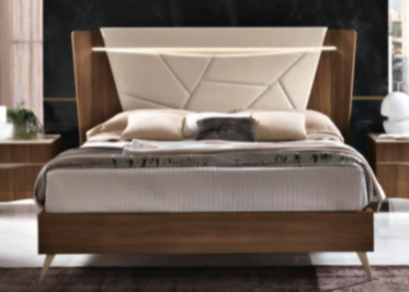 Saltarelli Emozioni Walnut Bed With Upholstered Headboard, Sides and Footboard in Wood