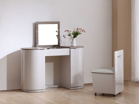 Hayley Cashmere High Gloss and Havana Oak Vanity Unit With Stool