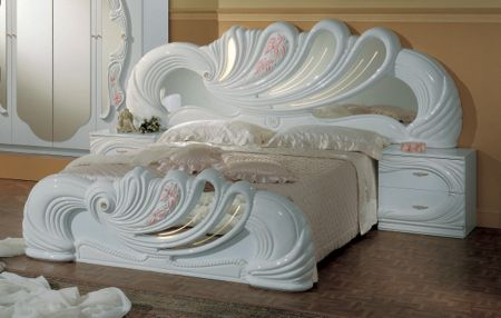 H2O Design Vanity White-Pink Bed + 2 Night Tables