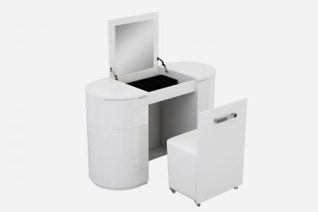 Lorna White High Gloss Vanity Unit With Stool
