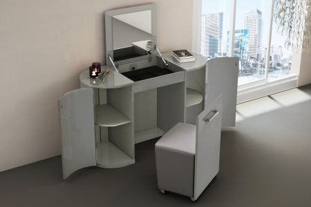 Mila Cashmere High Gloss Vanity Unit With Stool