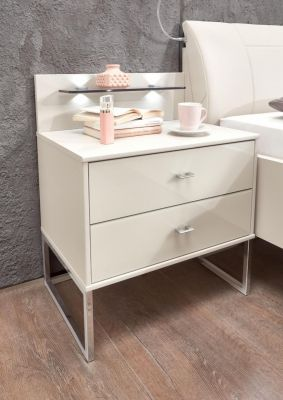WIEMANN Vigo Bedside Cabinet in Champage finish with Angled feet