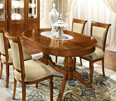Camel Group Torriani Walnut Oval Table With 2 Extensions