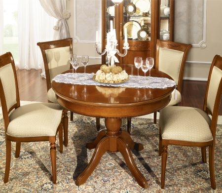 Camel Group Torriani Walnut Round Table With 1 Foldable Extension
