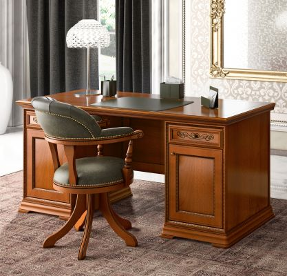 Camel Group Torriani Walnut Writing Desk With 2 Doors