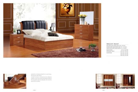 Walnut Storage Bed With Leather Headboard
