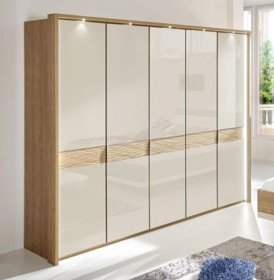 WIEMANN WEGA 5 Door Hinged Wardrobe with Glass doors in Champagne Glass with cross-trim in natural wave structure