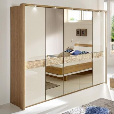 WIEMANN WEGA 5 Door Hinged Wardrobe with Glass doors in Champagne with cross-trim in natural wave structure