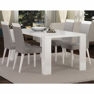 Status Elegance Diamond White High Gloss Dining Table